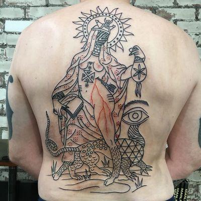 henry hablak #psychedelictattoo #psychedelic #surreal #trippy #strange #acid #lsd #mushrooms #backpiece #portrait #lady #arrow #sun #book #animal #creature #esoteric #symbols #alchemical #ancient #blood