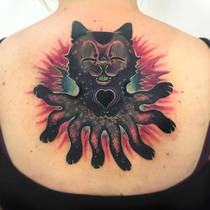 Tattoo by Giena Todryk #GienaTodryk #psychedelictattoo #psychedelic #surreal #trippy #strange #acid #lsd #mushrooms #cat #kitty #weird #color #newschool