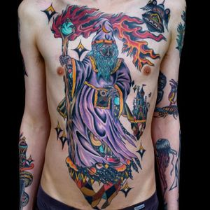 Tattoo by Geoff Horn #GeoffHorn #psychedelictattoo #psychedelic #surreal #trippy #strange #acid #lsd #mushrooms #color #illustrative #wizard #galaxy #fire #castle #space #planets #galaxy #magic #moon
