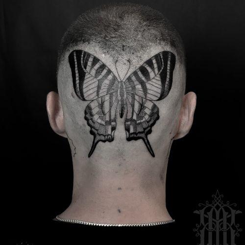 Tattoo by Abby Drielsma #AbbyDrielsma #besttattoos #butterfly #illustrative #blackwork #linework #pattern #wings #fly #insect #freedom #headtattoo #scalp
