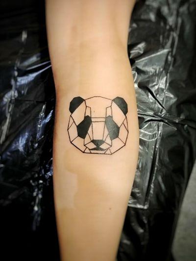 #panda #geometrical #blackwork #linework #fineline #modern #tattoodesign #design #newschool #animal