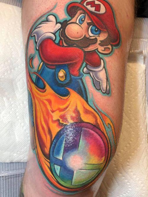 My new #Mario tattoo by #Sausage #walterfrank #revolttattoos #revoltmeadows #lasvegas #nevada #nintendo #supermario #supermariobros #supersmashbros #smashball #fireball #switch #nes #snes #n64 #gamecube #wii #wiiu #plumber #marioluigi #newschool #colortattoo #ink