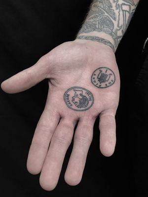 Tattoo by Servadio #Servadio #blackwork #illustrative #fineline #linework #money #coin #caesar #ancient