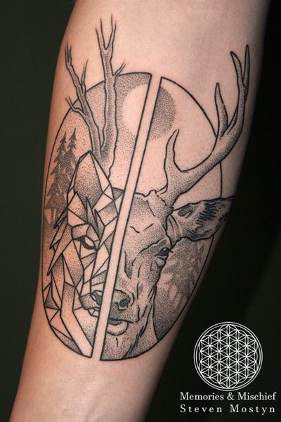 Dotwork Night/Day Wolf/Stag designed and tattooed by Mister Mostyn. #dotwork #stag #wolf #geometric #forearm #germany