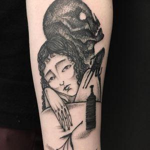 Tattoo by Servadio #Servadio #blackwork #illustrative #fineline #linework #portrait #ladyhead #skull #bottle #wine #flower #floral #plant #death #skeleton