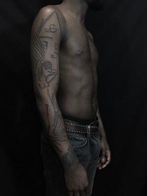 Tattoo by Servadio #Servadio #blackwork #illustrative #fineline #linework #landscape #body #house