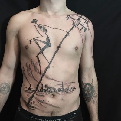 Tattoo by Servadio #Servadio #blackwork #illustrative #fineline #linework #skeleton #house #landscape #smoke #electrical #electricity #buildings