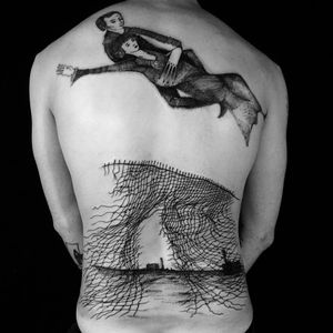 Tattoo by Servadio #Servadio #blackwork #illustrative #fineline #linework #chainlinkfence #fence #landscape #house #buildings #chagall #fineart #portrait #dream #surreal