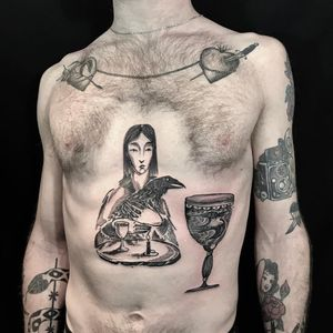 Tattoo by Servadio #Servadio #blackwork #illustrative #fineline #linework #portrait #goblet #cup #bird #wings #feathers #stilllife #candle #crow #ladyhead #lady