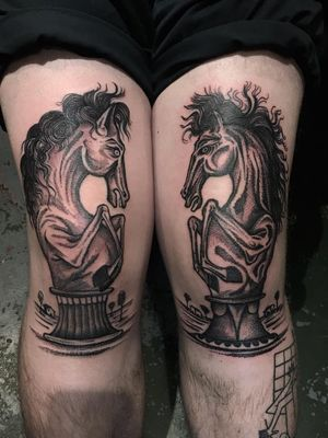 Tattoo by Servadio #Servadio #blackwork #illustrative #fineline #linework #horse #chesspieces #chess #pawn #landscape #sculpture #animal