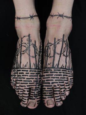 Tattoo by Servadio #Servadio #blackwork #illustrative #fineline #linework #bricks #fence #wall #shards #barbedwirefence