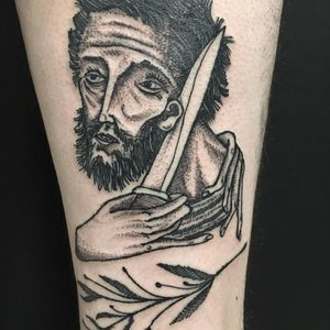 Tattoo by Servadio #Servadio #blackwork #illustrative #fineline #linework #vincent #vincentvangogh #knife #portrait
