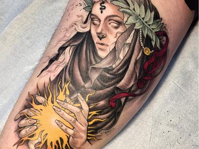 Tattoo by Sam Smith aka scragpie #SamSmith #scragpie #fantasytattoo #fantasytattoos #fantasy #magic #lady #ladyhead #portrait #pearls #nature #gypsy #witch #neotraditional #light #hands #leaves #snake #ribbon #beautiful