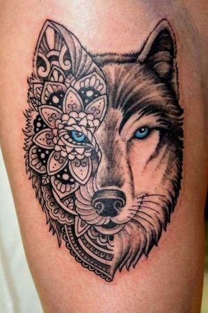 #wolftattoo #blueeyes #geometric #legtattoo