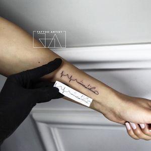 """""I am covered by the memories of you."" #father #fatherslove #signature #signaturetattoo #Black #joaantountattoos #lebanesetattooartist #lebanon #tattoo"