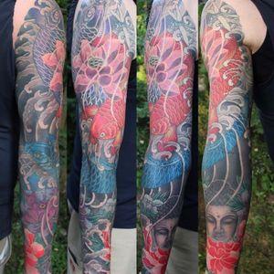 Buddha with koi and lotus full sleeve