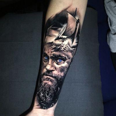 #viking #blackandgrey #ragnar #tattooartist