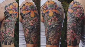 Koi and lotus half sleeve