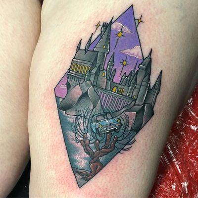 Tattoo by Sadee Glover #SadeeGlover #fantasytattoo #fantasytattoos #fantasy #magic #color #neotraditional #hogwarts #HarryPotter #tree #castle #stars #clouds #witch #wizard #fairytale #legend