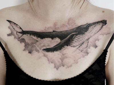 Tattoo by Tattooist Doy #TattooistDoy #Doy #oceanlifetattoos #oceanlife #ocean #nature #wildlife #animal #water #realism #realistic #illustrative #whale #animal #clouds #blackandgrey