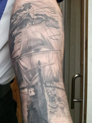 Pirate ship, stage 1 of full sleeve.