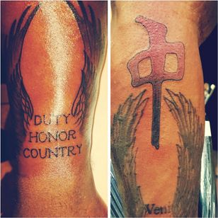 """The wings on the left """"duty honor country"""" is for my hometown West Point New York AKA United States Military Academy. The tattoo on the right is the The Red Dragons logo."""