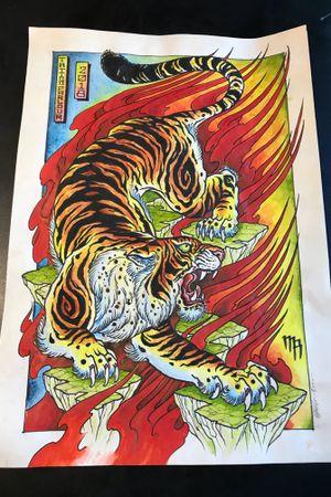 #tiger #tigertattoo #flames #irezumi #irezumi #painting #tattoo #tattooart #tattooartist #tattooartistmagazine #tattoodesing