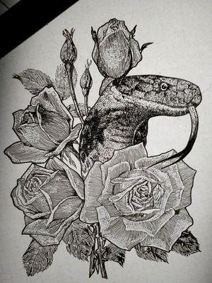 #snake #draw #tattooidea #tattooconcept #roses #flowers #bng #dotwork #finelineswork #negrogris #serpiente #cobra #dibujo #puntillismo #tatuaje #tattooartist