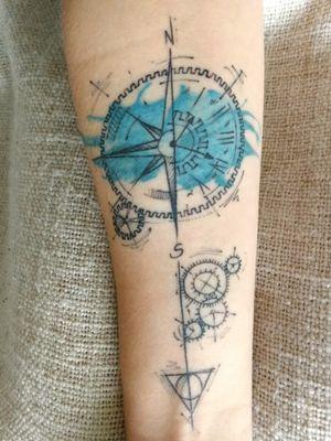 #compass #compasstattoo #clock #clocktattoo #hp #hptattoo #deathlyhallows #gears #graphic #watercolor #fineline