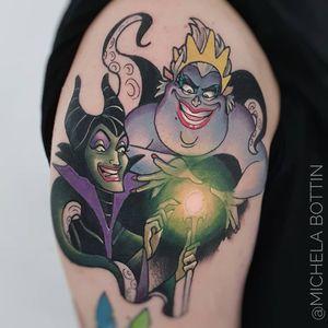 Tattoo by Michela Bottin #MichelaBottin #Disneytattoo #Disney #cartoon #animation #villains #Ursula #Maleficent #newschool #orb #glow