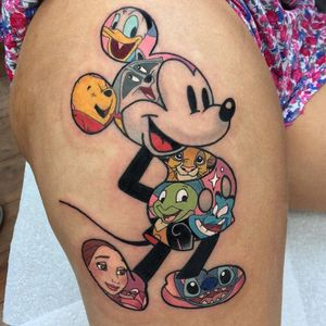 Tattoo by Jordan Baker #JordanBaker #Disneytattoo #Disney #cartoon #animation #MickeyMouse #Beautyandthebeast #LiloandStitch #PeterPan #LionKing #Aladdin #winniethepooh #Pocahontas