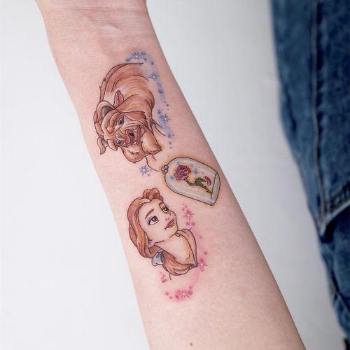 Tattoo by Nemo #Nemo #Nemotattoo #Disneytattoo #Disney #cartoon #animation #BeautyandtheBeast #illustrative #rose #sparkle #Belle #TheBeast #flower #flarl