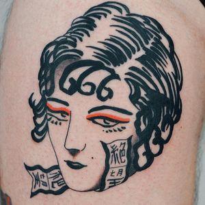 Tattoo by Antoine Larrey #AntoineLarrey #favoritetattoos #favorite #traditional #illustrative #ladyhead #portrait