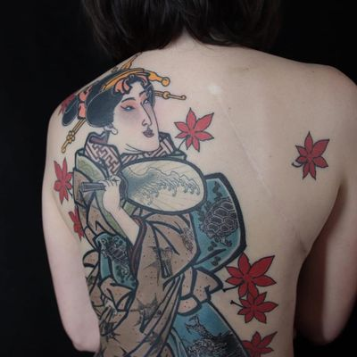 Tattoo by Acetates #Acetates #favoritetattoos #favorite #Japanese #edo #portrait #geisha #fan #wave #mapleleaf #tutrle #sparrow #bird #kimono #backpiece