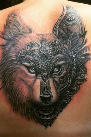 #wolf #wolftattoo #halfmandala #mandalahead