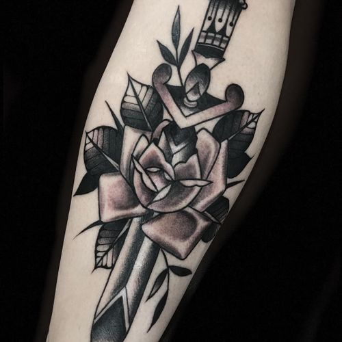 Tattoo by Derick Montez #DerickMontez #planttattoos #planttattoo #plant #nature #blackandgrey #sword #knife #dagger #rose #leaves
