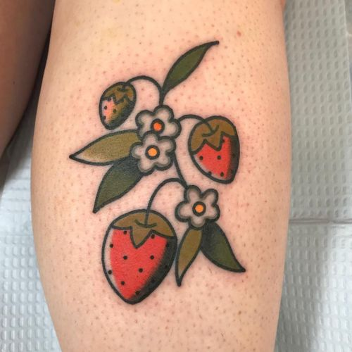 Tattoo by Julia Campione #JuliaCampione #planttattoos #planttattoo #plant #nature #leaves #flowers #floral #strawberry #strawberries #traditional