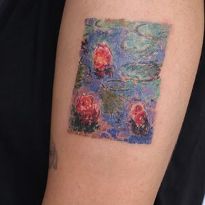 Tattoo by Gong Greem #GongGreem #planttattoos #planttattoo #plant #nature #Monet #lilypads #flowers #floral #watercolor
