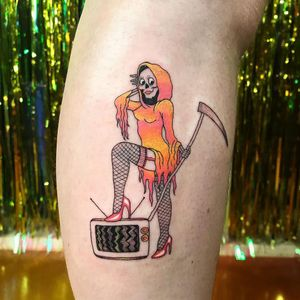 Tattoo by Lolli #Lolli #reapertattoo #reaper #grimreaper #skeleton #skull #death #pinup #tv #television #pinup #sexy #babe #highheels #legs #scythe #funny #funnytattoo