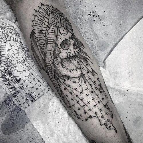 Tattoo by Johno #Johno #reapertattoo #reaper #grimreaper #skeleton #skull #death #blackwork #illustrative #pattern #crown #moon #esoteric