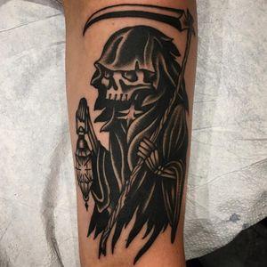 Tattoo by Paul Dobleman #PaulDobleman #reapertattoo #reaper #grimreaper #skeleton #skull #death #blackwork #traditional #lantern #scythe