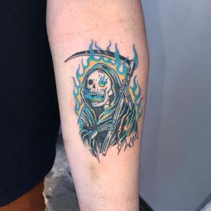 Tattoo by Mick Hee #MickHee #reapertattoo #reaper #grimreaper #skeleton #skull #death #illustrative #fire #scythe #color