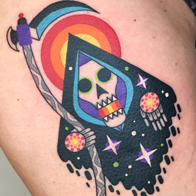 Tattoo by Winston the Whale #WinstontheWhale #reapertattoo #reaper #grimreaper #skeleton #skull #death #color #newschool #stars #surreal #psychedelic #scythe