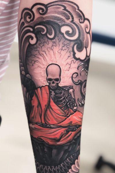 Monk:) #tattoodo #monk #snake #skull #wearesorrymom #killerinktattoo #inkjecta