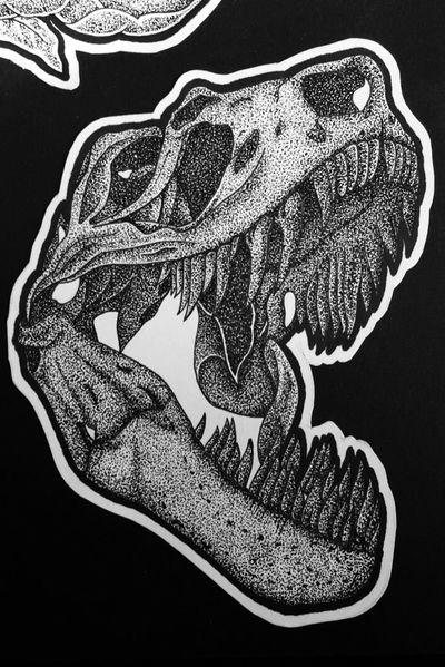 #tattoo #design #tattoodesign #dinosaur #trex #skull #dotwork #blackandgrey #blackwork #ink #black