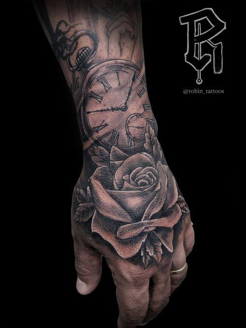 Rose with pocket watch #handtattoo #rosetattoo #pocketwatchtattoo #blackandgraytattoo #tattooartists