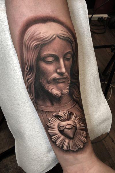 By Jose Contreras #joseecd #josecontrerasart #texas #dallastattooartist #dallastx #inked #jesus #statue #blackandgrey #tattooart