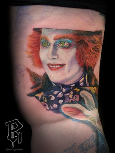 Johnny Depp from Alice in wonderland. #realism #photorealism #colorportrait #realistictattoo #colorrealism #AliceinWonderlandtattoo #aliceinwonderland #johnnydepp