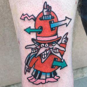 Tattoo by Rukus #Rukus #cartoontattoos #cartoon #oldschool #vintage #oldtv #ThePoint #color #traditional