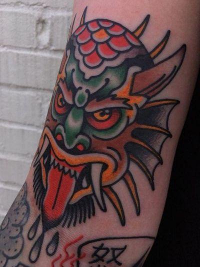 Chinese demon by Matt Nemeth at Lakeside Tattoo, Va. #japanese #Japanesetraditionaltattoo #oni #monster #demon #hannya